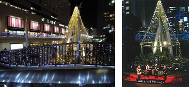 Illumination event using LED lights, and a Christmas concert