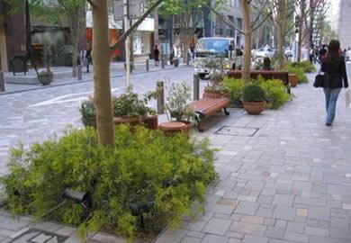 緑と花のある休憩場所