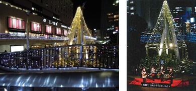 LEDライトで彩るイルミネーション事業、クリスマスコンサート