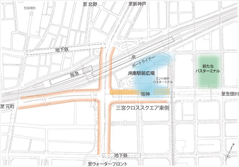第1段階「三宮クロススクエア」東側の車線減少
